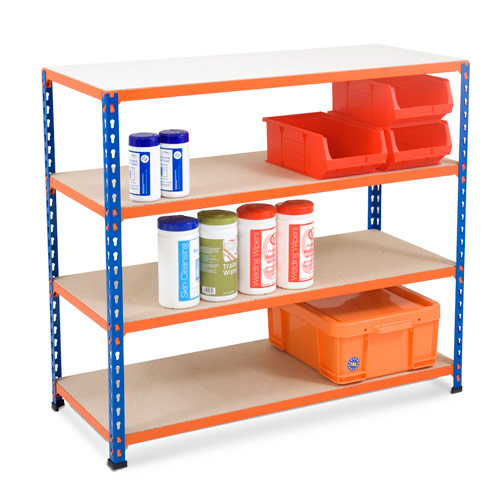 Rapid 2 Shelving (990h x 1220w) Blue & Orange - 4 Chipboard Shelves