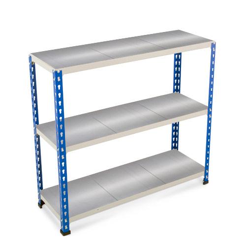 Rapid 2 Shelving (990h x 915w) Blue & Grey - 3 Galvanized Shelves