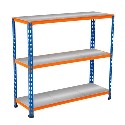 Rapid 2 Shelving (990h x 915w) Blue & Orange - 3 Galvanized Shelves