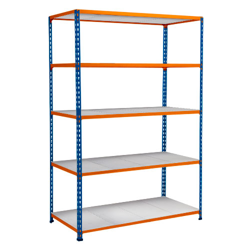 Rapid 2 Shelving (1980h x 1525w) Blue & Orange - 5 Galvanized Shelves