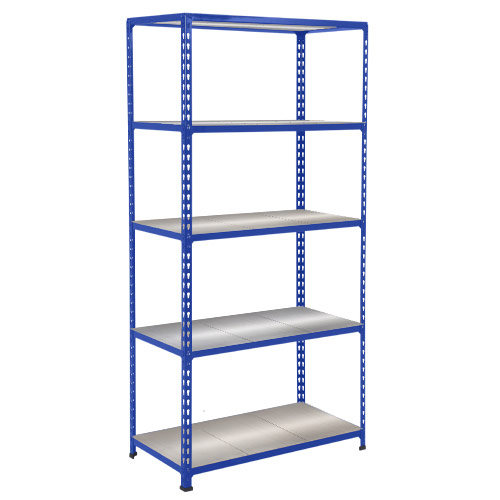 Rapid 2 Shelving (1600h x 915w) Blue - 5 Galvanized Shelves