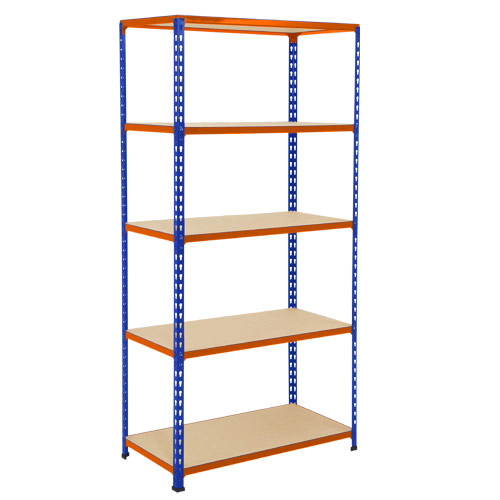 Rapid 2 Shelving (1980h x 915w) Blue & Orange - 5 Chipboard Shelves