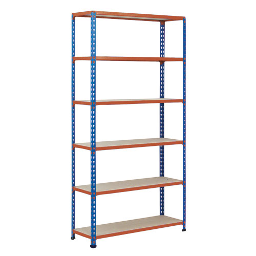 Rapid 2 Shelving (1600h x 915w) Blue & Orange - 6 Chipboard Shelves