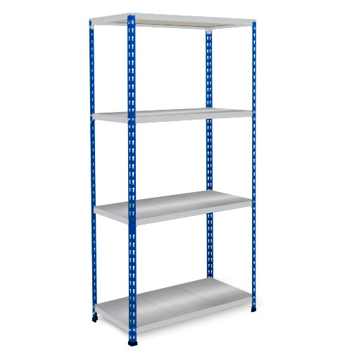 Rapid 2 Shelving (1600h x 915w) Blue & Grey - 4 Galvanized Shelves