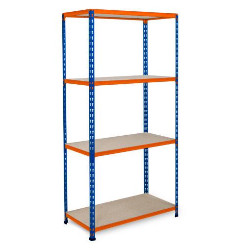 Rapid 2 Shelving (1600h x 915w) Blue & Orange - 4 Chipboard Shelves