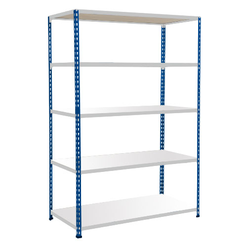 Rapid 2 Shelving (1600h x 1220w) Blue & Grey - 5 Melamine Shelves