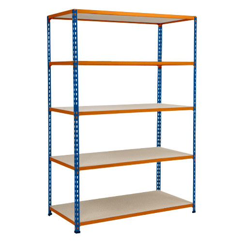 Rapid 2 Shelving (1600h x 1220w) Blue & Orange - 5 Chipboard Shelves