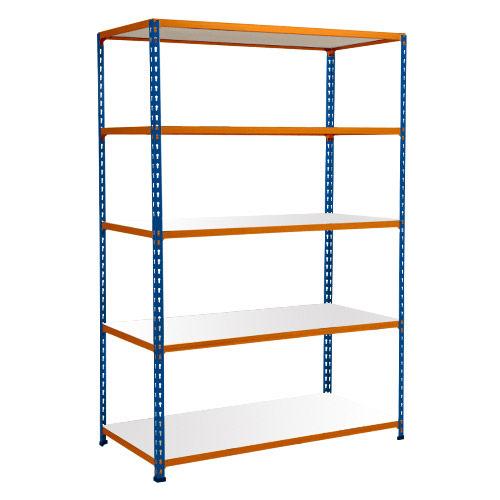 Rapid 2 Shelving (1600h x 1220w) Blue & Orange - 5 Melamine Shelves