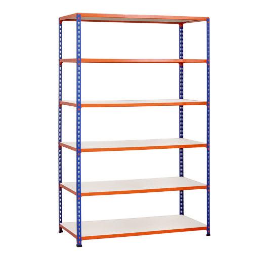 Rapid 2 Shelving (1600h x 1220w) Blue & Orange - 6 Melamine Shelves