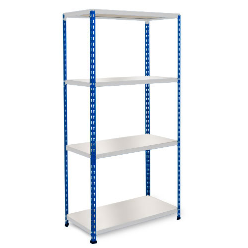 Rapid 2 Shelving (1600h x 1220w) Blue & Grey - 4 Melamine Shelves