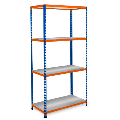 Rapid 2 Shelving (1600h x 1220w) Blue & Orange - 4 Galvanized Shelves