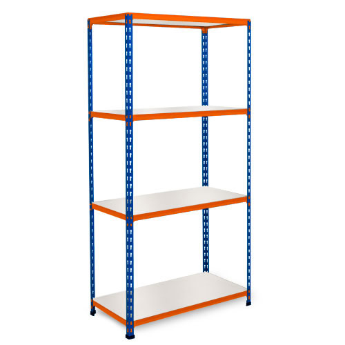 Rapid 2 Shelving (1600h x 1220w) Blue & Orange - 4 Melamine Shelves