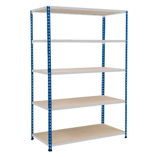 Rapid 2 Shelving (1600h x 1525w) Blue & Grey - 5 Chipboard Shelves