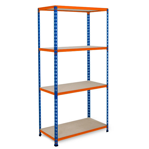 Rapid 2 Shelving (1600h x 1525w) Blue & Orange - 5 Chipboard Shelves