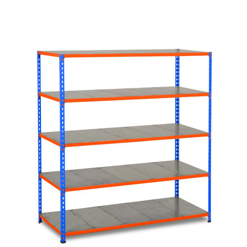 Rapid 2 Shelving (1600h x 1525w) Blue & Orange - 5 Galvanized Shelves