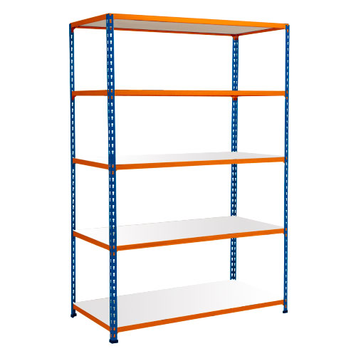 Rapid 2 Shelving (1600h x 1525w) Blue & Orange - 5 Melamine Shelves