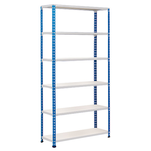 Rapid 2 Shelving (1600h x 1525w) Blue & Grey - 6 Chipboard Shelves