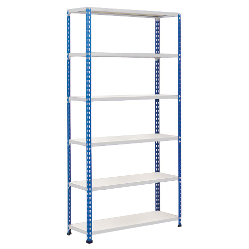 Rapid 2 Shelving (1600h x 1525w) Blue & Grey - 6 Melamine Shelves