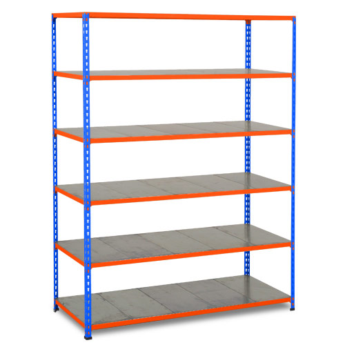 Rapid 2 Shelving (1600h x 1525w) Blue & Orange - 6 Galvanized Shelves