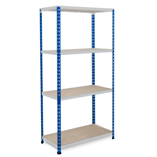 Rapid 2 Shelving (1600h x 1525w) Blue & Grey - 4 Chipboard Shelves