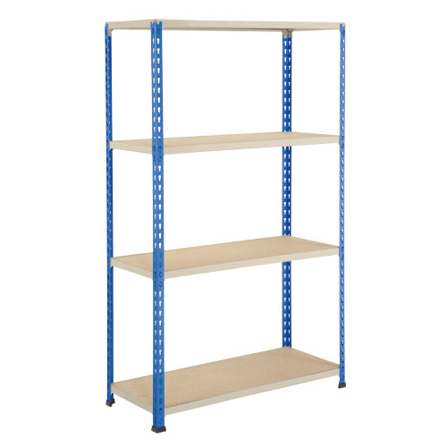 Rapid 2 Shelving (1980h x 915w) Blue & Grey - 4 Chipboard Shelves