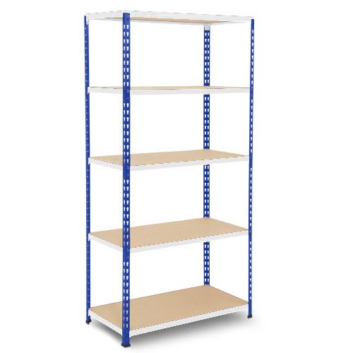 Rapid 2 Shelving (1980h x 915w) Blue & Grey - 5 Chipboard Shelves