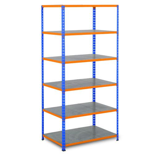 Rapid 2 Shelving (1980h x 915w) Blue & Orange - 6 Galvanized Shelves