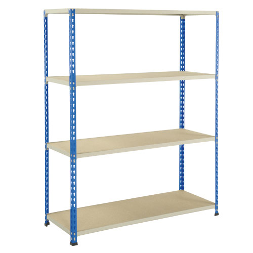 Rapid 2 Shelving (1980h x 1220w) Blue & Grey - 4 Chipboard Shelves