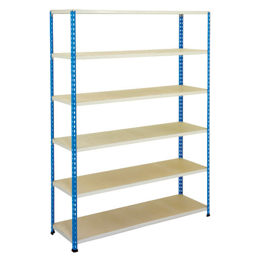 Rapid 2 Shelving (1980h x 1220w) Blue & Grey - 6 Chipboard Shelves