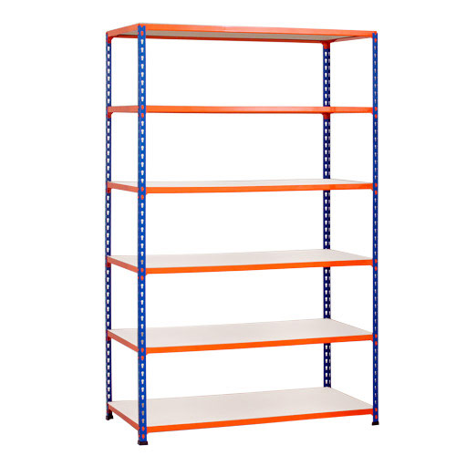 Rapid 2 Shelving (1980h x 1525w) Blue & Orange - 6 Melamine Shelves