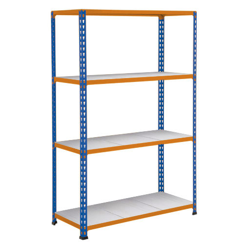 Rapid 2 Shelving (1980h x 1525w) Blue & Orange - 4 Galvanized Shelves