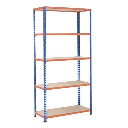 Rapid 2 Shelving (2440h x 915w) Blue & Orange - 5 Chipboard Shelves