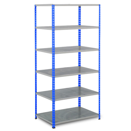 Rapid 2 Shelving (2440h x 915w) Blue & Grey - 6 Galvanized Shelves