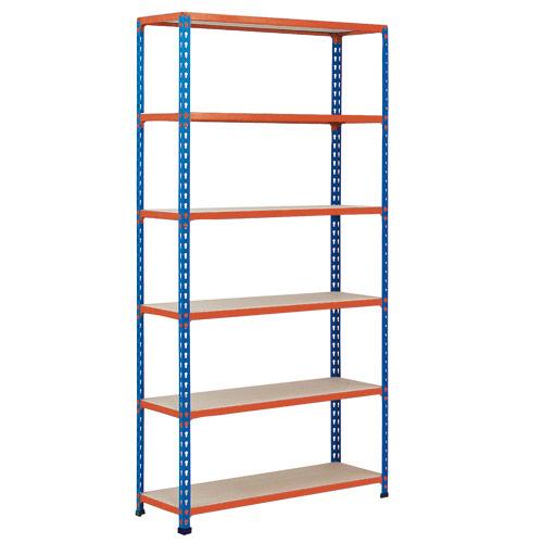 Rapid 2 Shelving (2440h x 915w) Blue & Orange - 6 Chipboard Shelves