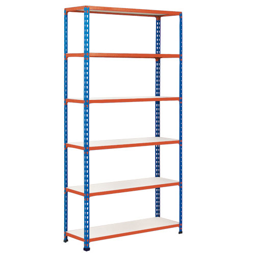 Rapid 2 Shelving (2440h x 915w) Blue & Orange - 6 Melamine Shelves