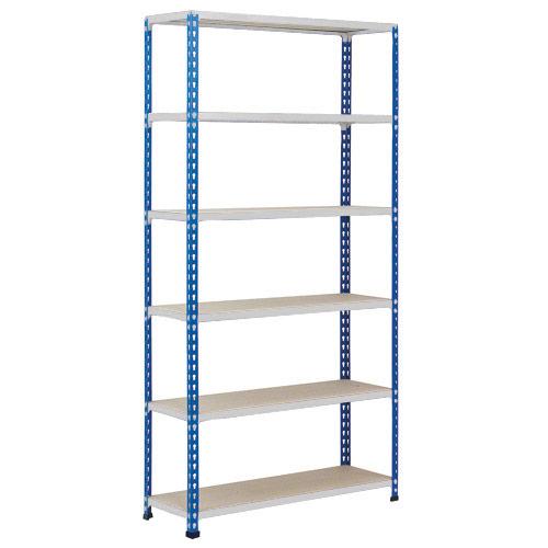 Rapid 2 Shelving (2440h x 1220w) Blue & Grey - 6 Chipboard Shelves