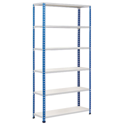 Rapid 2 Shelving (2440h x 1220w) Blue & Grey - 6 Melamine Shelves