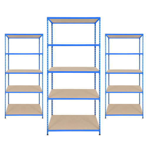 3 bays of rapid 2 305d in blue rapid racking for 3 bays