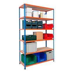 Rapid 2 Shelving (1980h x 1220w) Blue & Orange - 6 Chipboard Shelves