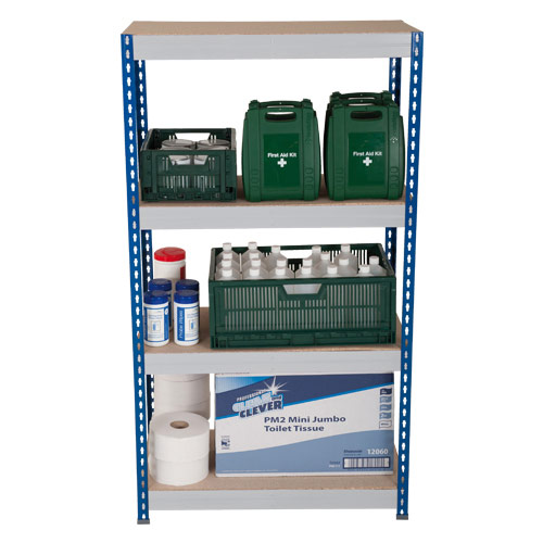 Rapid 3 Shelving (1600h x 900w) Blue & Grey - 4 Chipboard Shelves