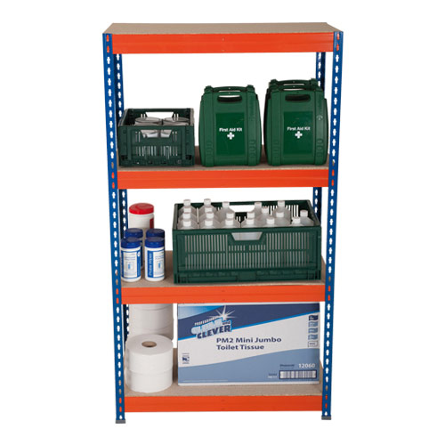 Rapid 3 Shelving (1600h x 900w) Blue & Orange - 4 Chipboard Shelves