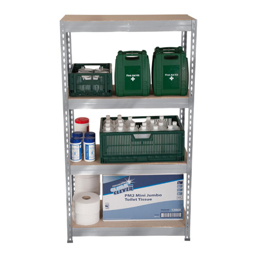 Rapid 3 Shelving (1600h x 900w) Galvanized - 4 Chipboard Shelves