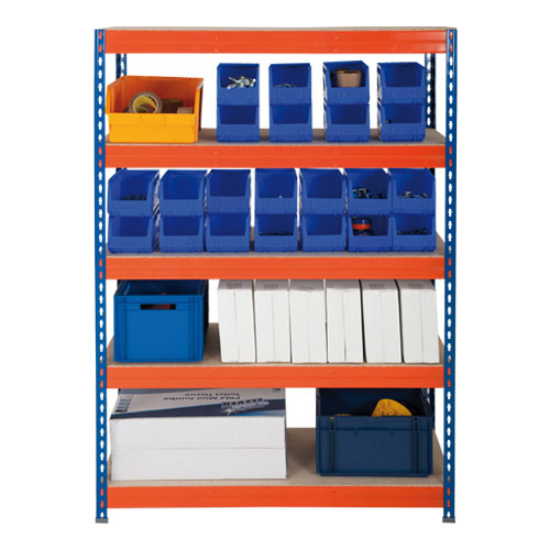 Rapid 3 Shelving (1600h x 900w) Blue & Orange - 5 Chipboard Shelves