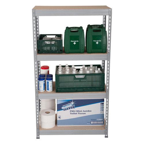 Rapid 3 Shelving (1600h x 1200w) Grey - 4 Chipboard Shelves