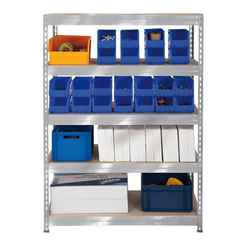 Rapid 3 Shelving (1600h x 1200w) Galvanized - 5 Chipboard Shelves