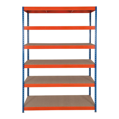 Rapid 3 Shelving (1600h x 1200w) Blue & Orange - 6 Chipboard Shelves
