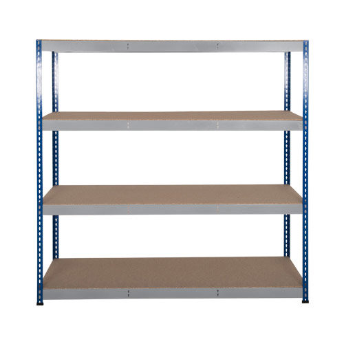 Rapid 3 Shelving (1600h x 1500w) Blue & Grey - 4 Chipboard Shelves
