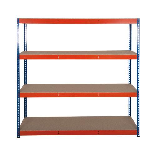 Rapid 3 Shelving (1600h x 1500w) Blue & Orange - 4 Chipboard Shelves