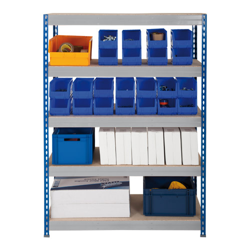 Rapid 3 Shelving (1600h x 1500w) Blue & Grey - 5 Chipboard Shelves