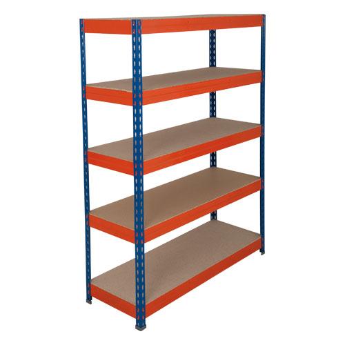 Rapid 3 Shelving (1600h x 1500w) Blue & Orange - 5 Chipboard Shelves